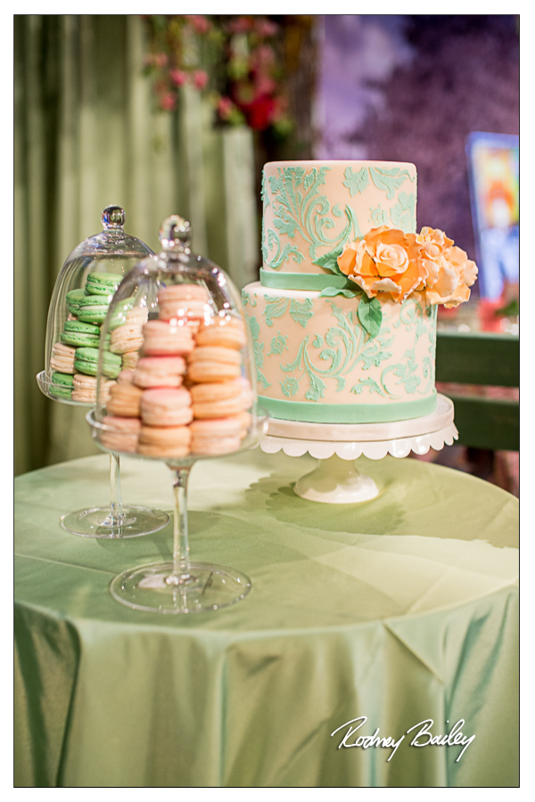 Selecting a Wedding Cake in DC, VA and MD wedding cake mint peach wedding cake macarons washington dc wedding rodney bailey photography