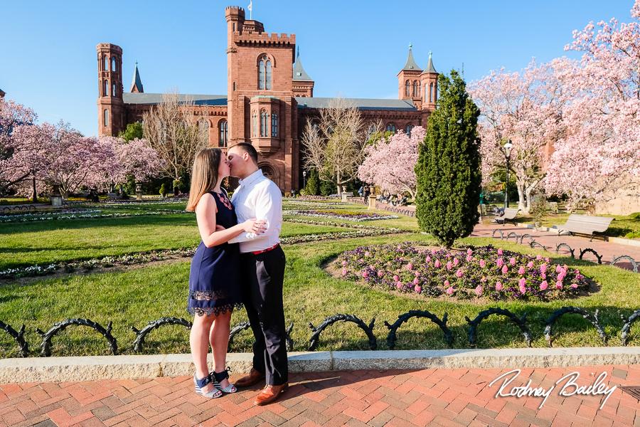 Washington DC Cherry Blossom Engagement Photographers Smithsonian Castle Rodney Bailey Photography