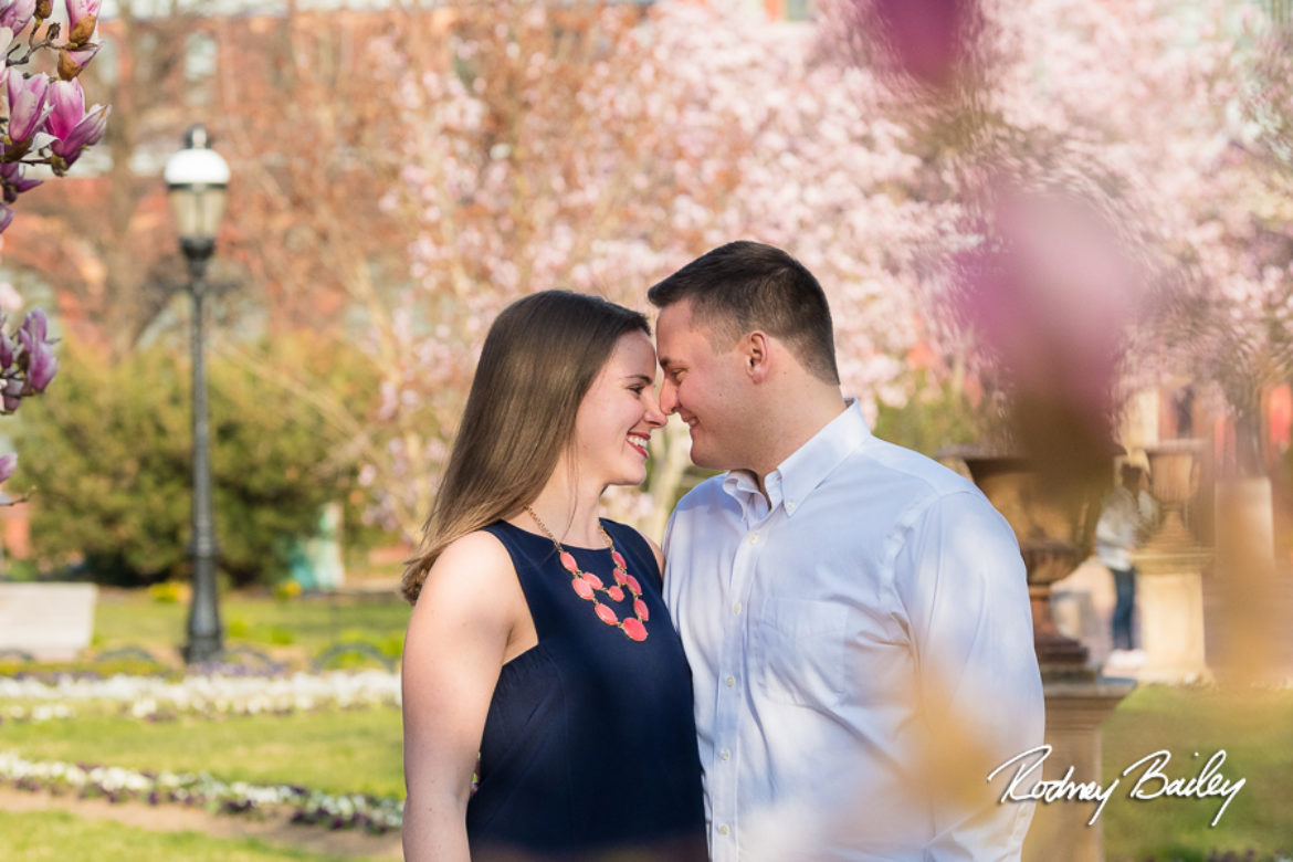 Washington DC Cherry Blossom Engagement Photographers at Smithsonian Castle